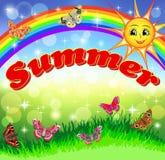 微笑的太阳的明亮的动画片在天空彩虹的 图库摄影