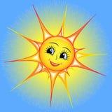 微笑的太阳的明亮的动画片在天空的 库存照片