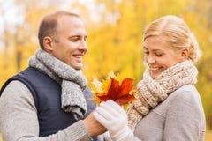 微笑的夫妇在秋天公园 免版税库存图片