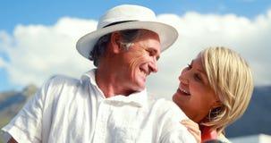 微笑的夫妇坐滑行车 股票视频