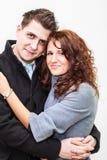 年轻微笑的夫妇画象在容忍的 免版税库存图片
