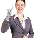 微笑的女商人用机器人手 3d翻译 免版税库存图片