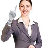 微笑的女商人用机器人手 3d翻译 库存图片