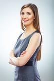年轻微笑的女商人白色背景isola画象  库存照片