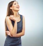年轻微笑的女商人白色背景isola画象  免版税库存图片