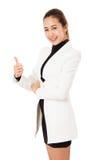 微笑的女商人画象显示在白色背景的赞许 免版税库存照片