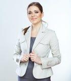 微笑的女商人画象,白色backgroun的 免版税库存图片