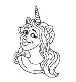 微笑的女孩独角兽朝向与鬃毛和垫铁 在白色隔绝的独角兽贴纸 画象女孩独角兽贴纸,补丁徽章 库存例证