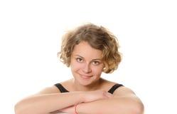 微笑的女孩画象  免版税库存照片