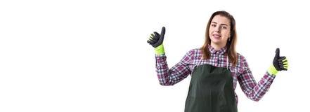 微笑的妇女专业花匠或卖花人画象ap的 免版税库存图片