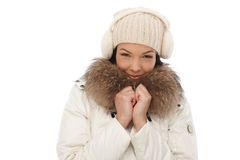 微笑的妇女冬天纵向  免版税库存图片