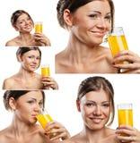 微笑的妇女喝橙汁的套 库存照片