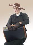 年轻微笑的妇女葡萄酒服装20世纪 免版税库存图片