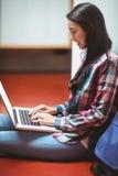 微笑的学生坐地板和使用膝上型计算机 免版税库存图片