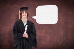 微笑的学生的综合图象毕业生长袍的 库存照片