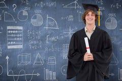 微笑的学生的综合图象毕业生长袍的 免版税图库摄影