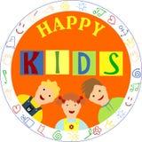 微笑的孩子和词愉快的孩子 免版税库存照片