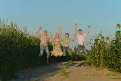 微笑的家庭跳跃 库存图片