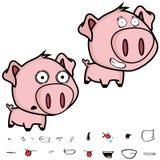 微笑的小的大顶头猪动画片表示集合 免版税库存照片
