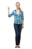 微笑的少妇pinting的手指  免版税库存图片