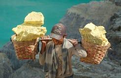 微笑的工作者运载在Kawah伊真火山里面的硫磺 免版税库存图片