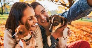 微笑的年轻加上狗户外在做se的秋天公园 免版税库存图片