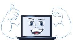 微笑的强有力的便携式计算机2 图库摄影