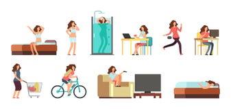 微笑的愉快的妇女在日常生活中 活跃被设置的女孩法线每日定期传染媒介动画片生活方式字符 向量例证