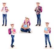 微笑的愉快的学校女孩孩子照片画象的汇集  图库摄影