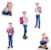 微笑的愉快的学校女孩孩子照片画象的汇集  库存图片
