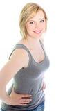 微笑的新曲线美金发碧眼的女人 免版税库存照片