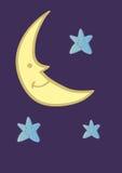 微笑的新月形月亮和星动画片在午夜蓝色 库存图片