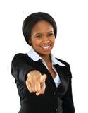 微笑的新美国黑人的妇女纵向  免版税库存图片