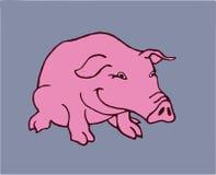 微笑的桃红色猪人物素描 向量例证