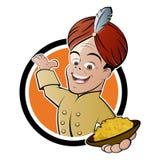 有碗的印第安厨师用咖喱粉烹调的米 免版税库存图片