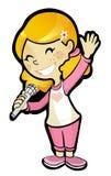 微笑的歌手女孩图表 免版税库存照片