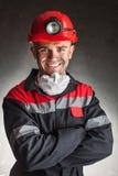 微笑的煤矿工人 免版税库存照片