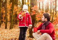 微笑的父亲和女儿获得室外的乐趣在秋天公园 库存照片