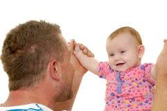 微笑的父亲和婴孩 免版税库存图片