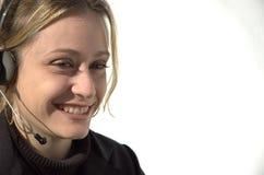 微笑的电话推销员 图库摄影