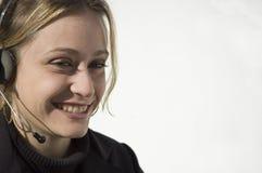 微笑的电话推销员 免版税图库摄影