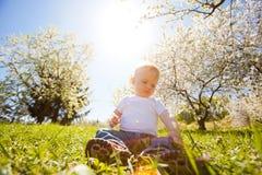 微笑的男孩坐草在太阳射线下 免版税库存图片