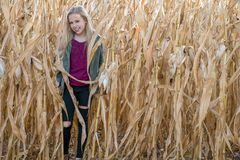 微笑的白肤金发的女孩在玉米田 免版税库存照片