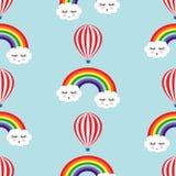 微笑的睡觉云彩、彩虹和热空气气球无缝的样式 库存图片