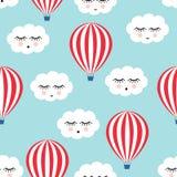 微笑的睡觉云彩和热空气气球无缝的样式 库存图片