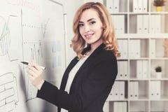 微笑的红发女实业家和whiteboard 库存照片