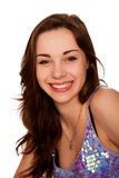 微笑的红头发人青少年的女孩特写镜头画象。 免版税库存图片