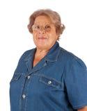 微笑的老妇人画象  免版税库存照片