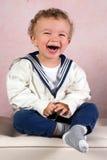 微笑的葡萄酒男孩 免版税库存照片