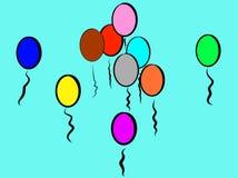 微笑的蓝色嬉戏的五颜六色的气球;这是象天空 库存例证
